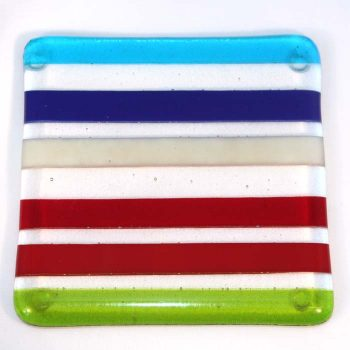 Bright multi-stripe coaster