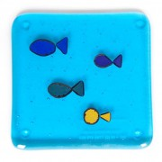 sparkly fish fused glass coasters