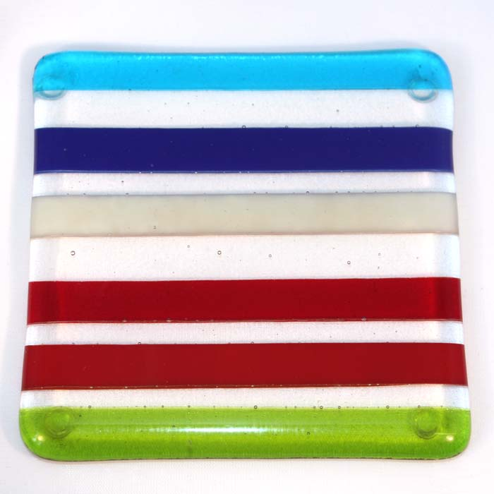 Bright multi-stripe coaster