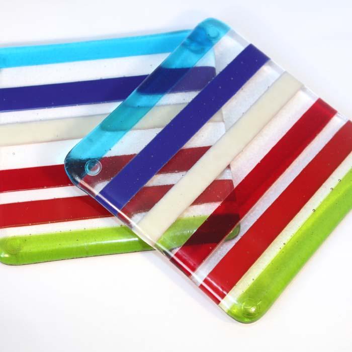 Multi-coloured stripey coaster